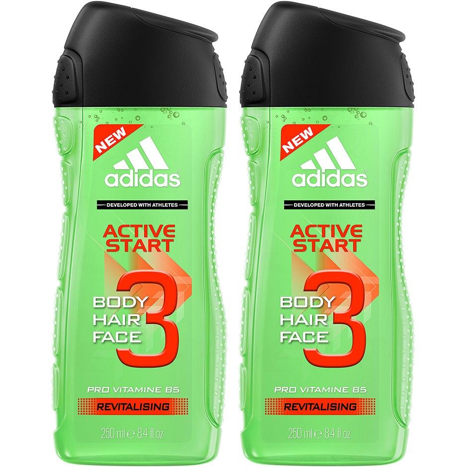 Bilde av 3 In 1 Active Start Duo, Shower Gel 250 X 2 Adidas Hudpleie